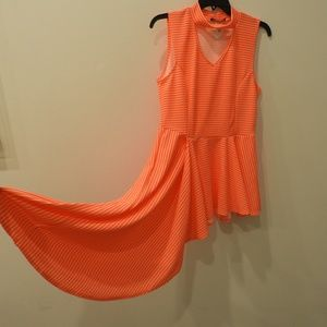 Neon Orange Asymmetrical Blouse